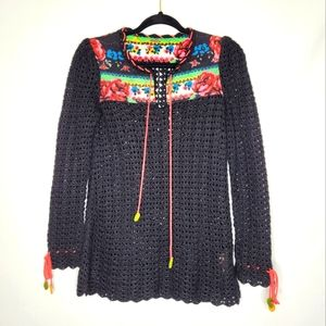 Free People Knit Quilted Sweater